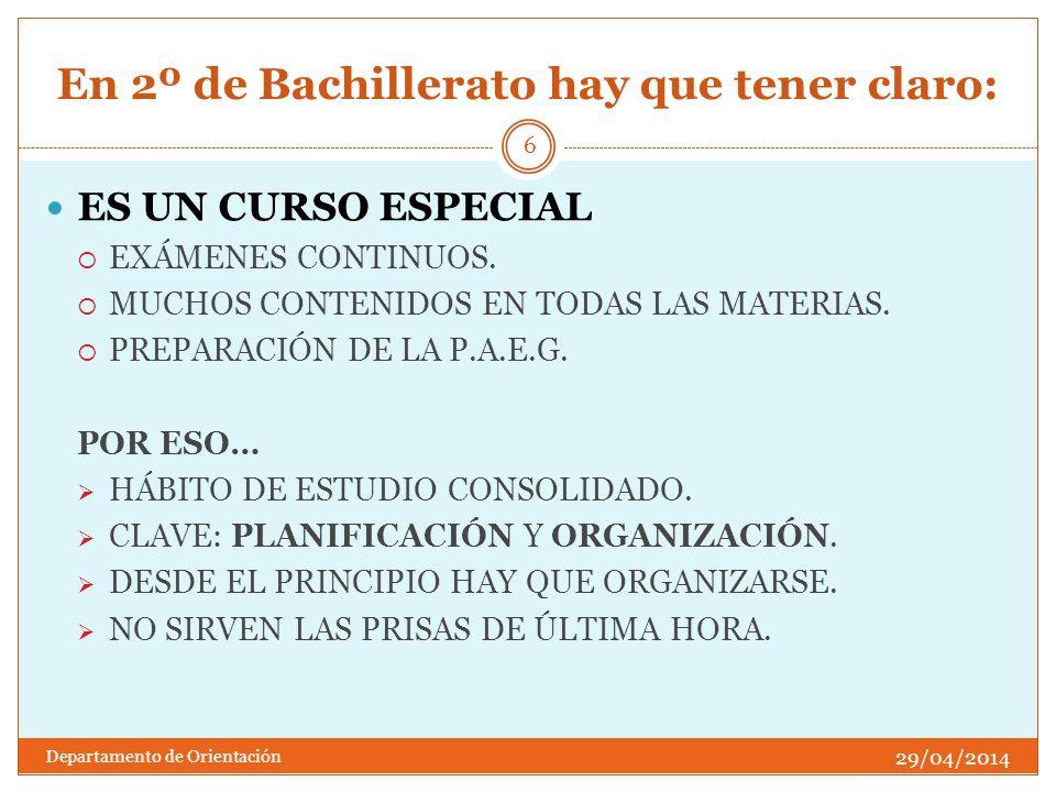 En 2º de Bachillerato hay que tener claro: