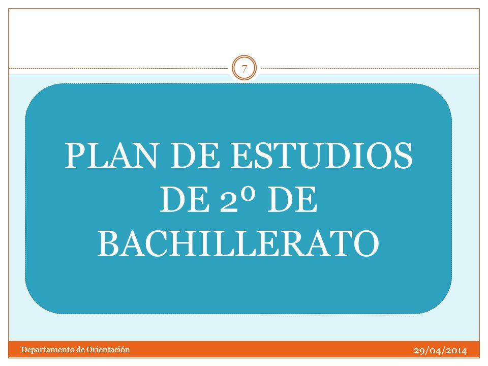 PLAN DE ESTUDIOS DE 2º DE BACHILLERATO