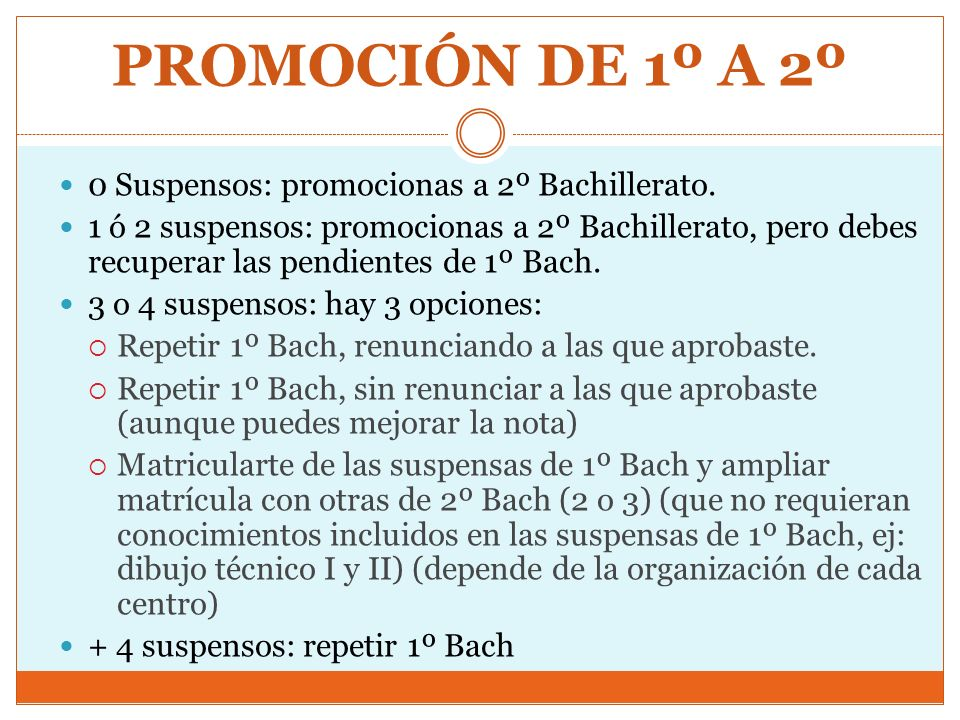 PROMOCIÓN DE 1º A 2º 0 Suspensos: promocionas a 2º Bachillerato.