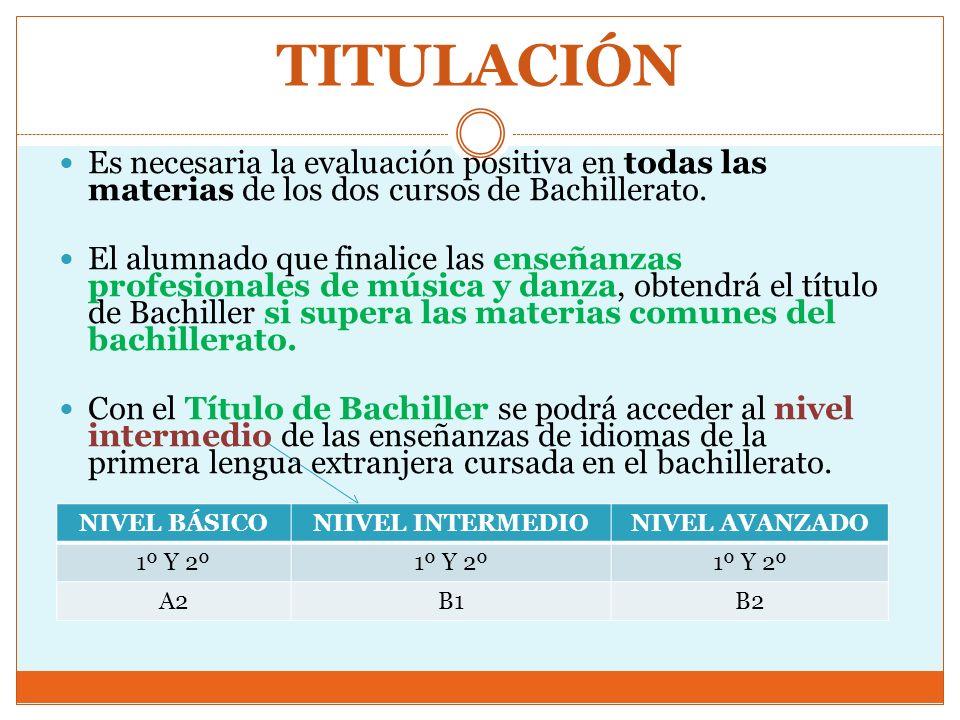 TITULACIÓNEs necesaria la evaluación positiva en todas las materias de los dos cursos de Bachillerato.