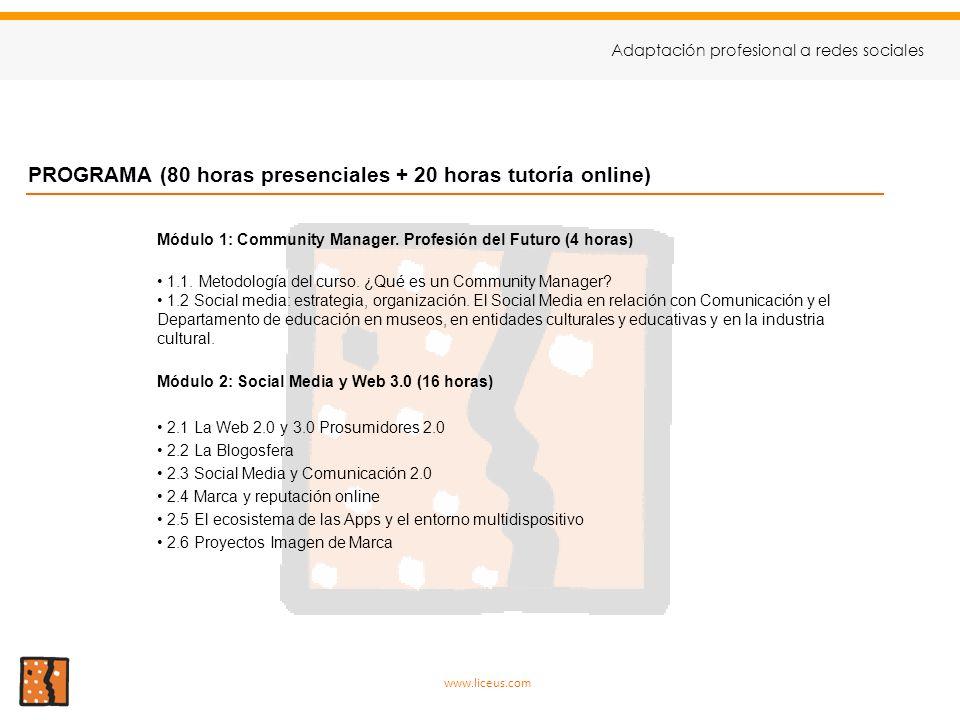 PROGRAMA (80 horas presenciales + 20 horas tutoría online)
