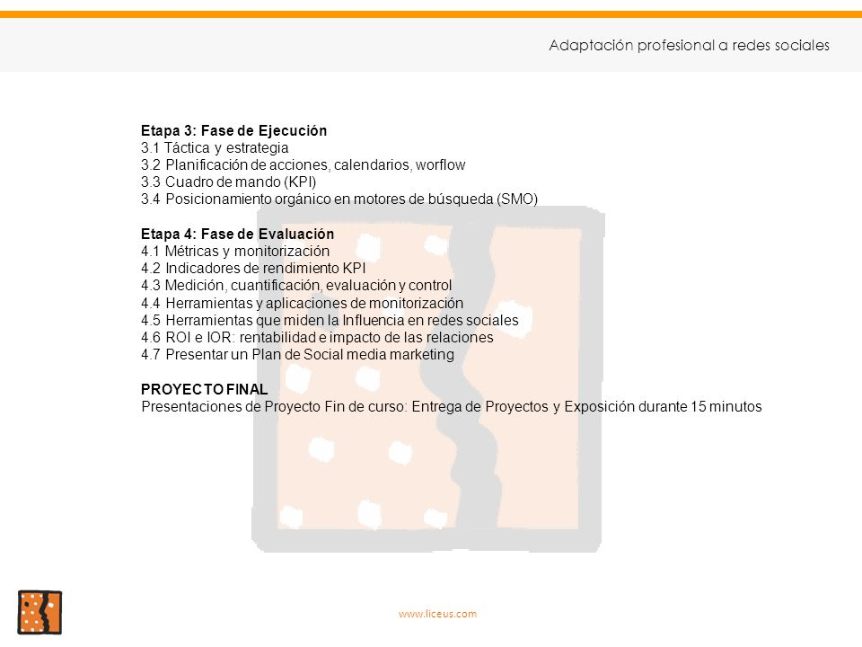 9 Adaptación profesional a redes sociales Etapa 3: Fase de Ejecución
