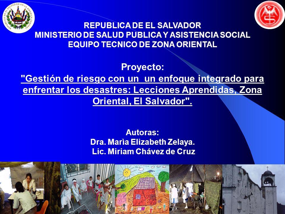 REPUBLICA DE EL SALVADOR EQUIPO TECNICO DE ZONA ORIENTAL