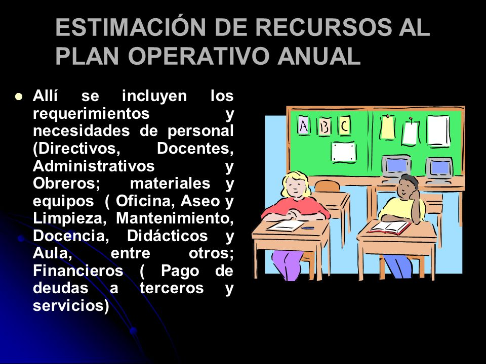 ESTIMACIÓN DE RECURSOS AL PLAN OPERATIVO ANUAL