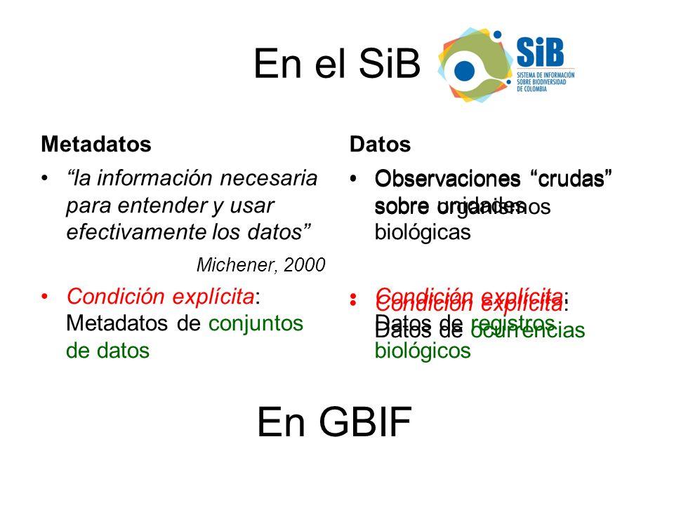 En el SiB En GBIF Metadatos Datos