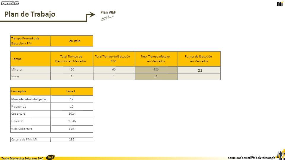 Plan de Trabajo 21 20 min Tiempo Promedio de Ejecución x PM Tiempo