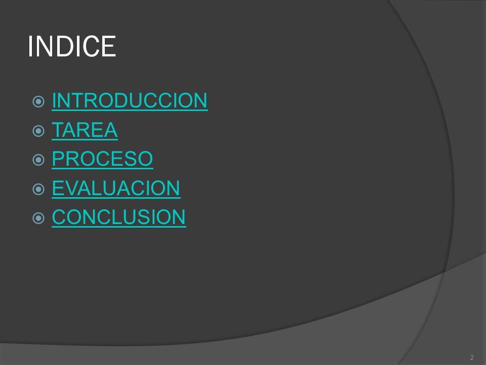 INDICE INTRODUCCION TAREA PROCESO EVALUACION CONCLUSION