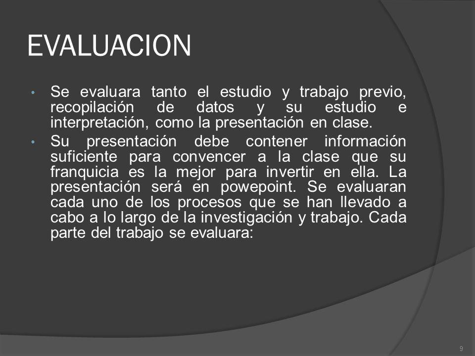 EVALUACION Se evaluara tanto el estudio y trabajo previo, recopilación de datos y su estudio e interpretación, como la presentación en clase.