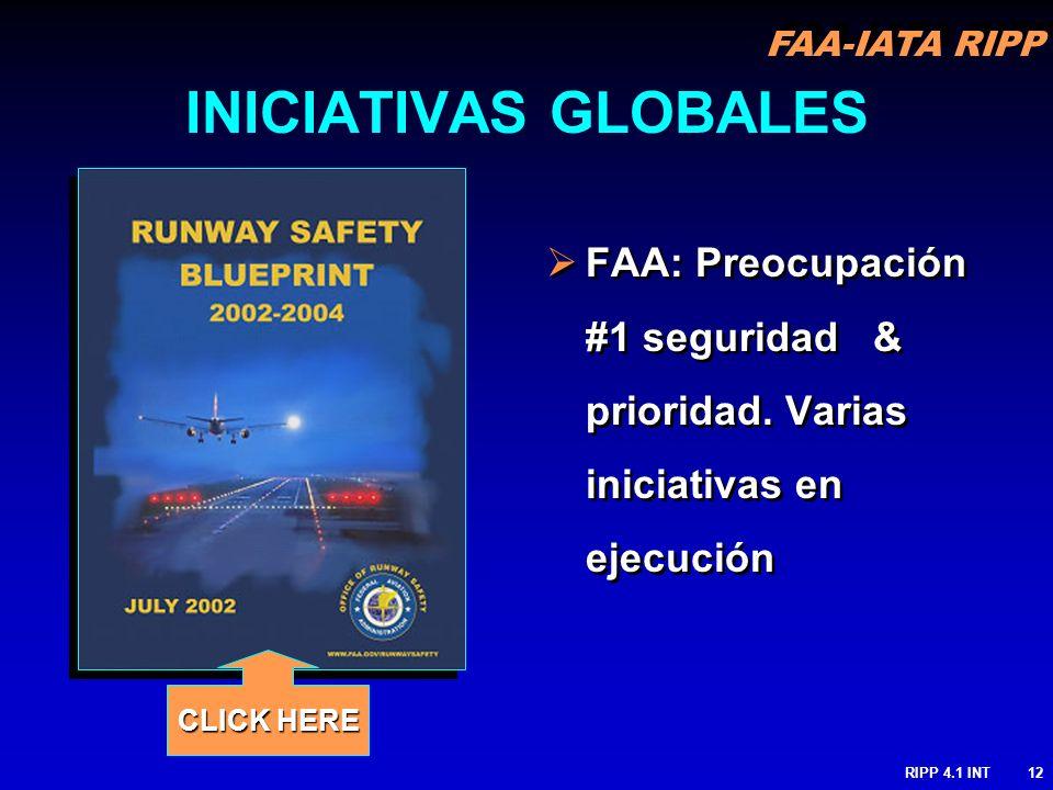 INICIATIVAS GLOBALES FAA: Preocupación #1 seguridad & prioridad. Varias iniciativas en ejecución.