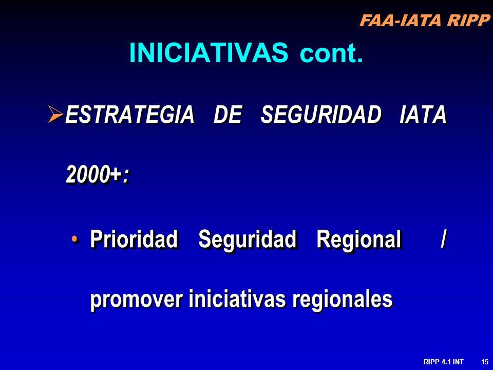 INICIATIVAS cont. ESTRATEGIA DE SEGURIDAD IATA 2000+: