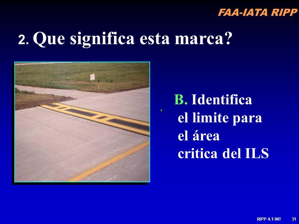 B. Identifica el limite para el área critica del ILS