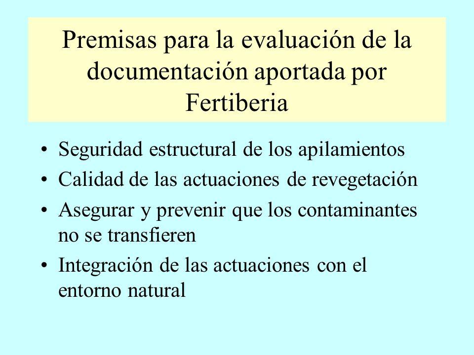 Premisas para la evaluación de la documentación aportada por Fertiberia