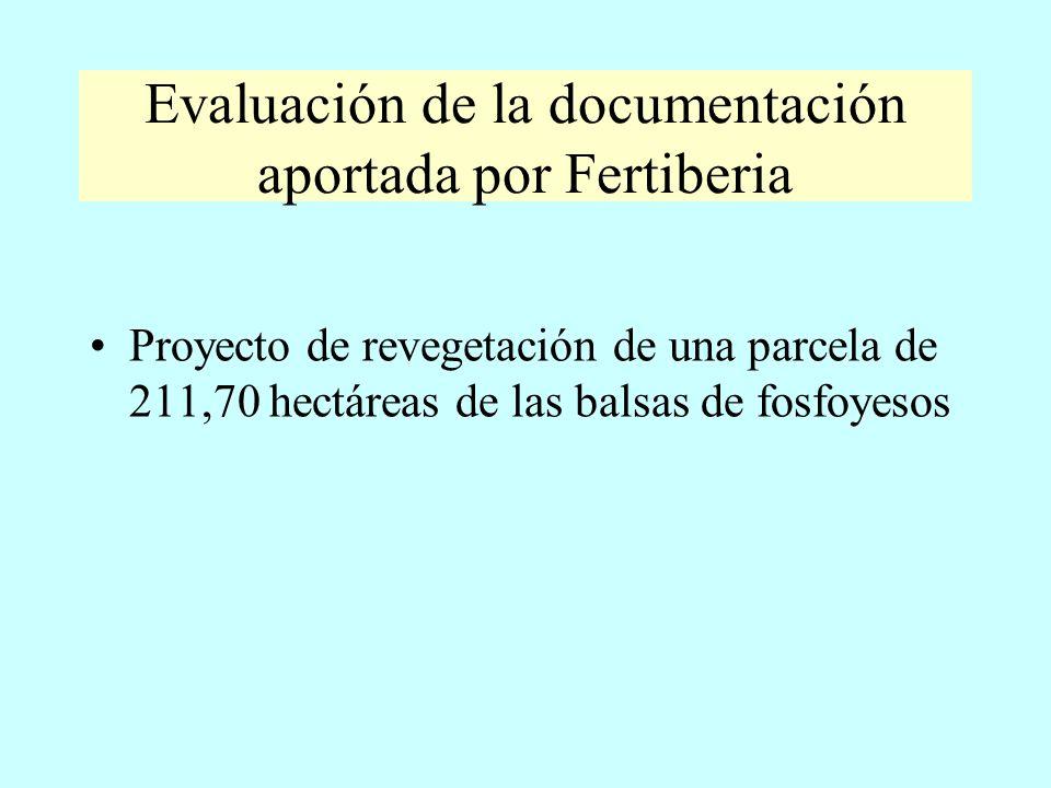 Evaluación de la documentación aportada por Fertiberia