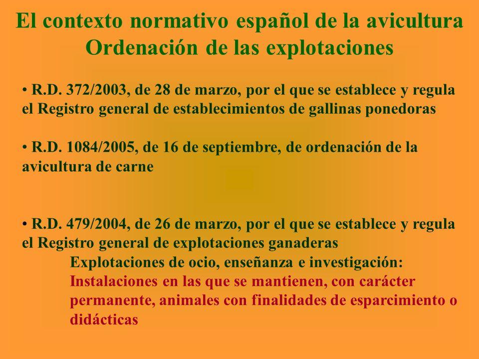 El contexto normativo español de la avicultura Ordenación de las explotaciones