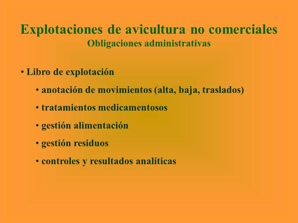 Explotaciones de avicultura no comerciales Obligaciones administrativas
