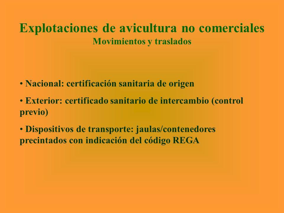 Explotaciones de avicultura no comerciales Movimientos y traslados