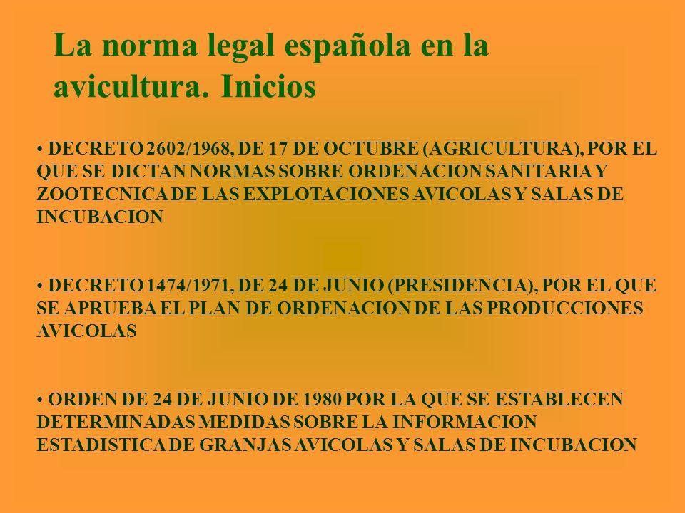 La norma legal española en la avicultura. Inicios