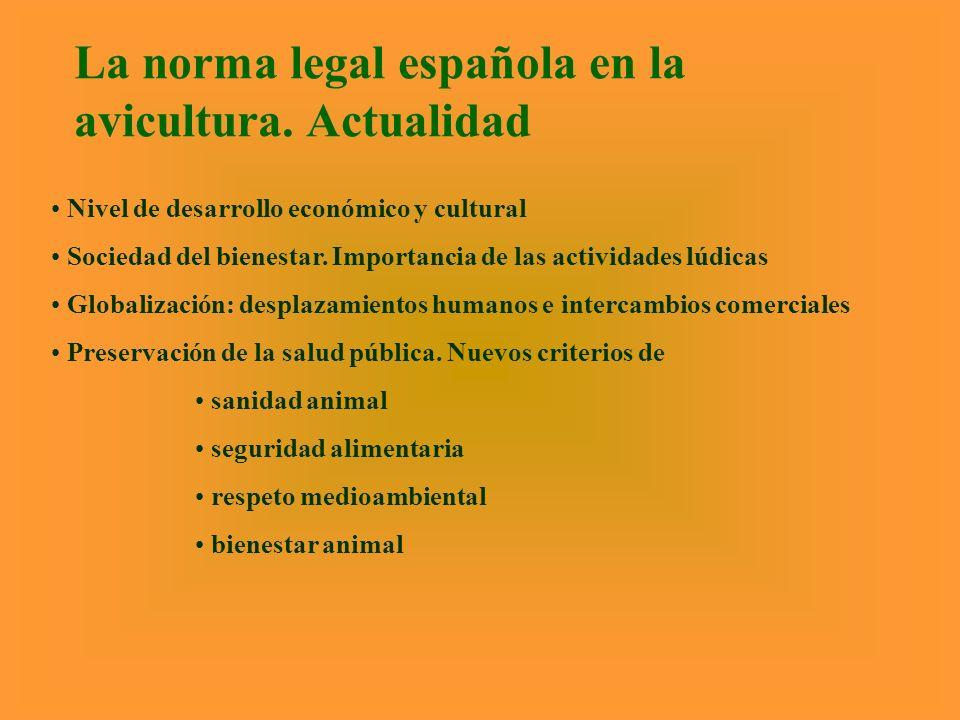La norma legal española en la avicultura. Actualidad