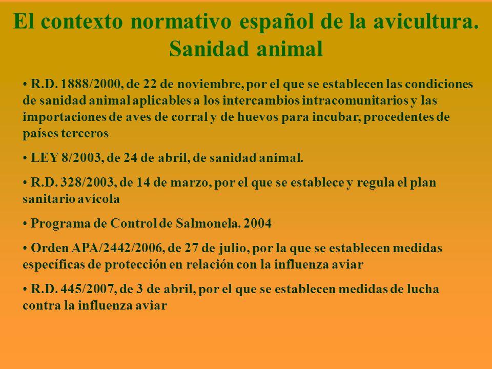 El contexto normativo español de la avicultura. Sanidad animal