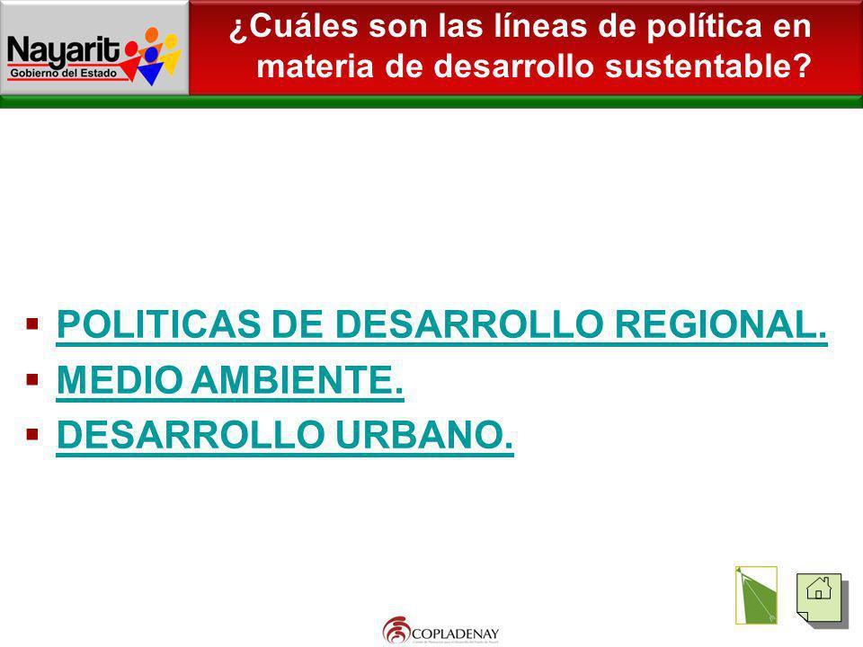 POLITICAS DE DESARROLLO REGIONAL. MEDIO AMBIENTE. DESARROLLO URBANO.