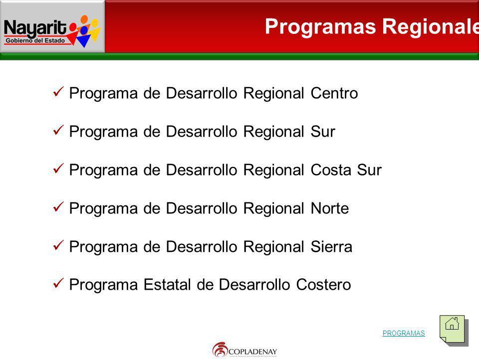 Programas Regionales Programa de Desarrollo Regional Centro