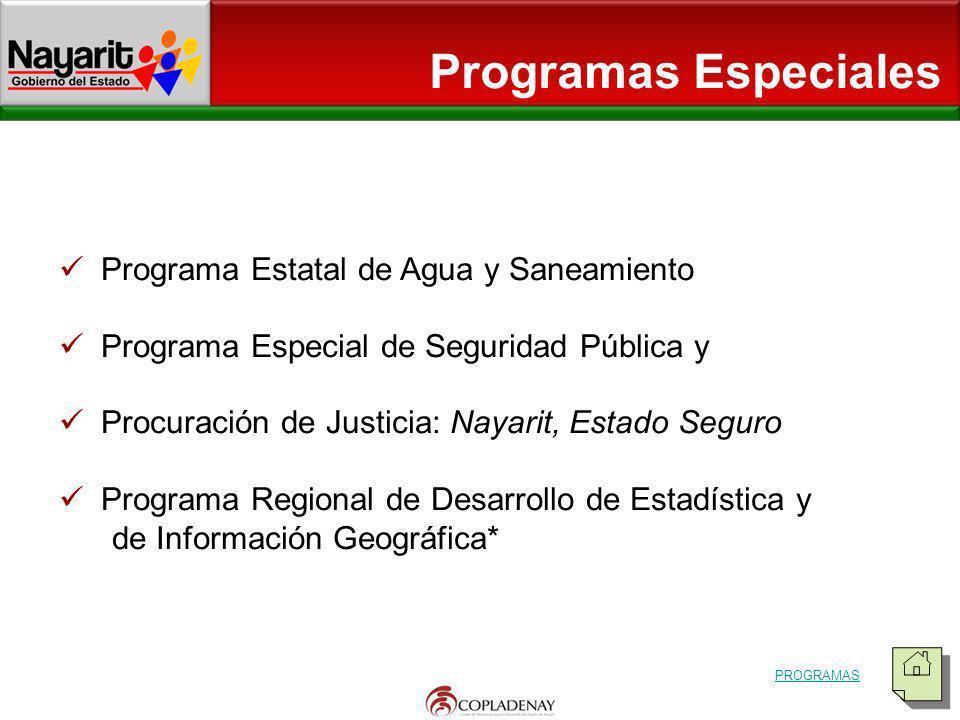 Programas Especiales Programa Estatal de Agua y Saneamiento