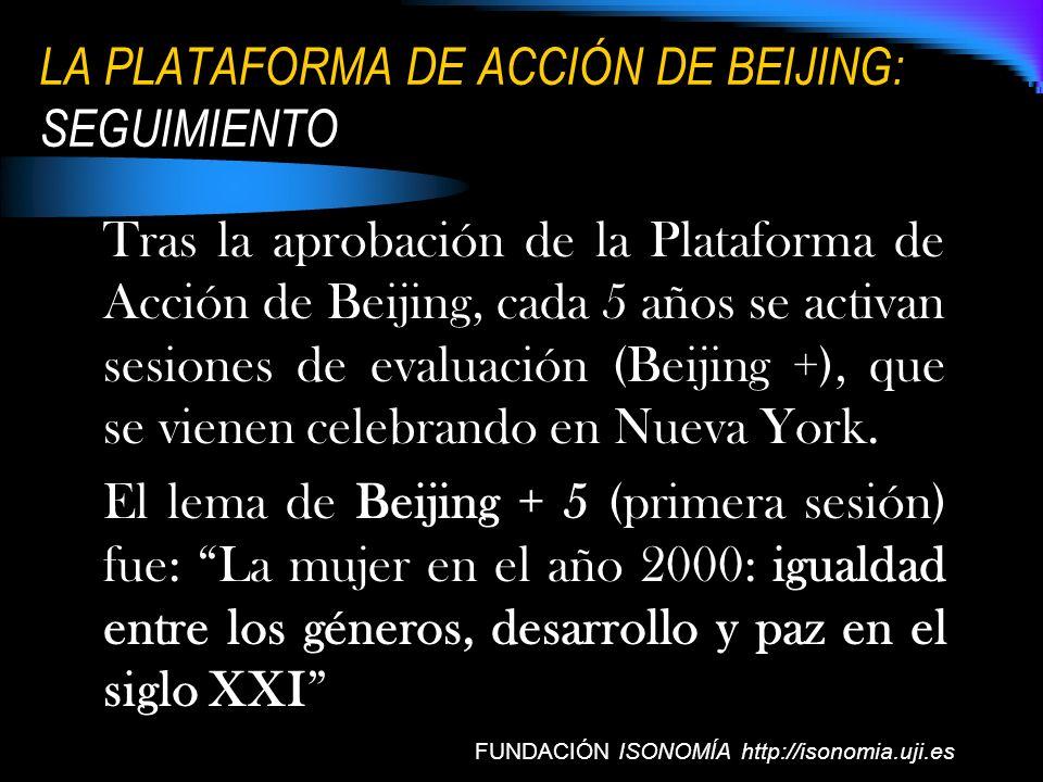 LA PLATAFORMA DE ACCIÓN DE BEIJING: SEGUIMIENTO