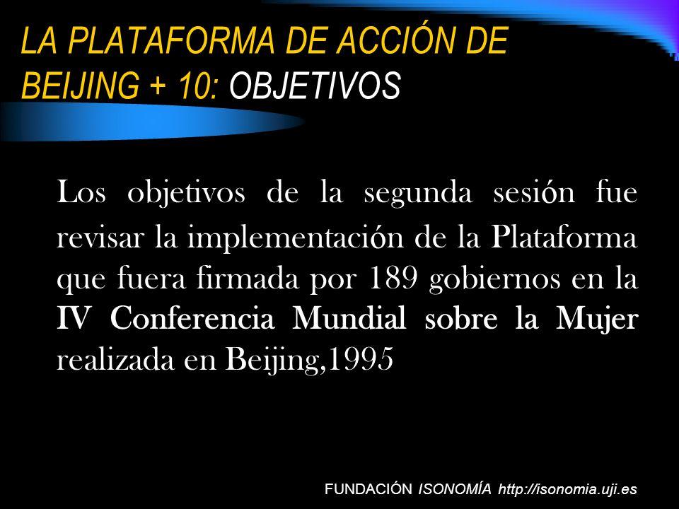 LA PLATAFORMA DE ACCIÓN DE BEIJING + 10: OBJETIVOS