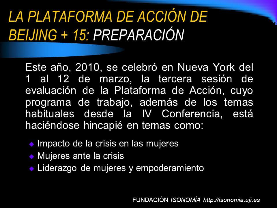 LA PLATAFORMA DE ACCIÓN DE BEIJING + 15: PREPARACIÓN