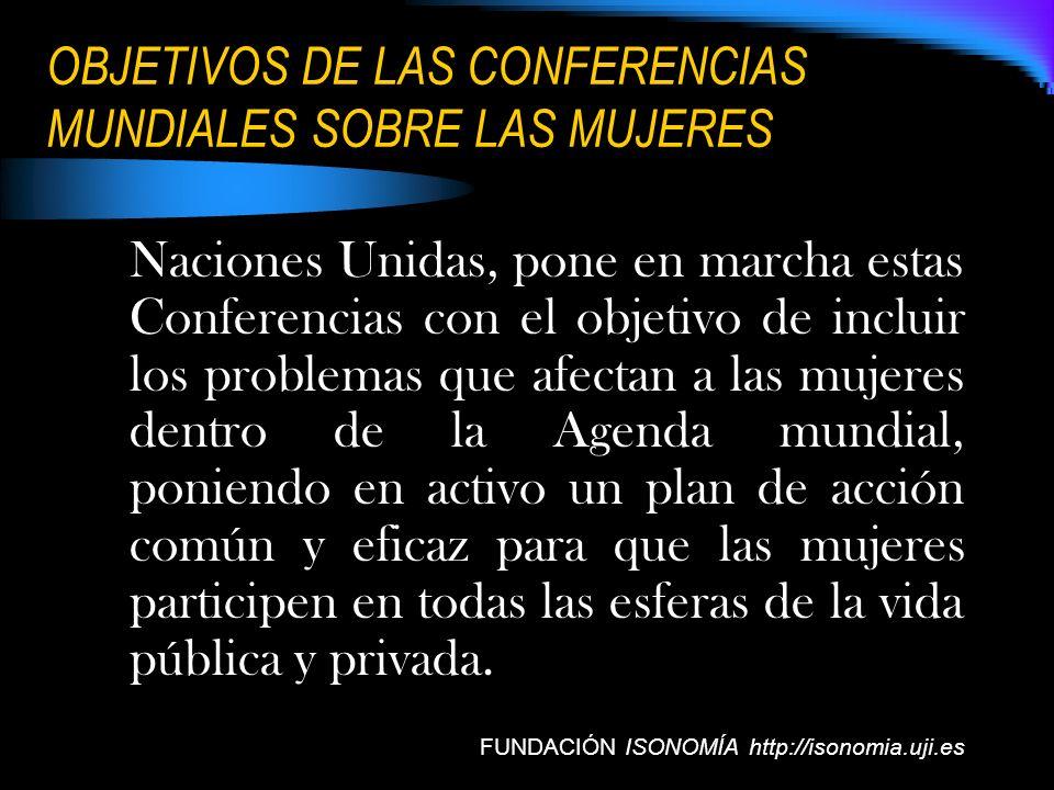 OBJETIVOS DE LAS CONFERENCIAS MUNDIALES SOBRE LAS MUJERES