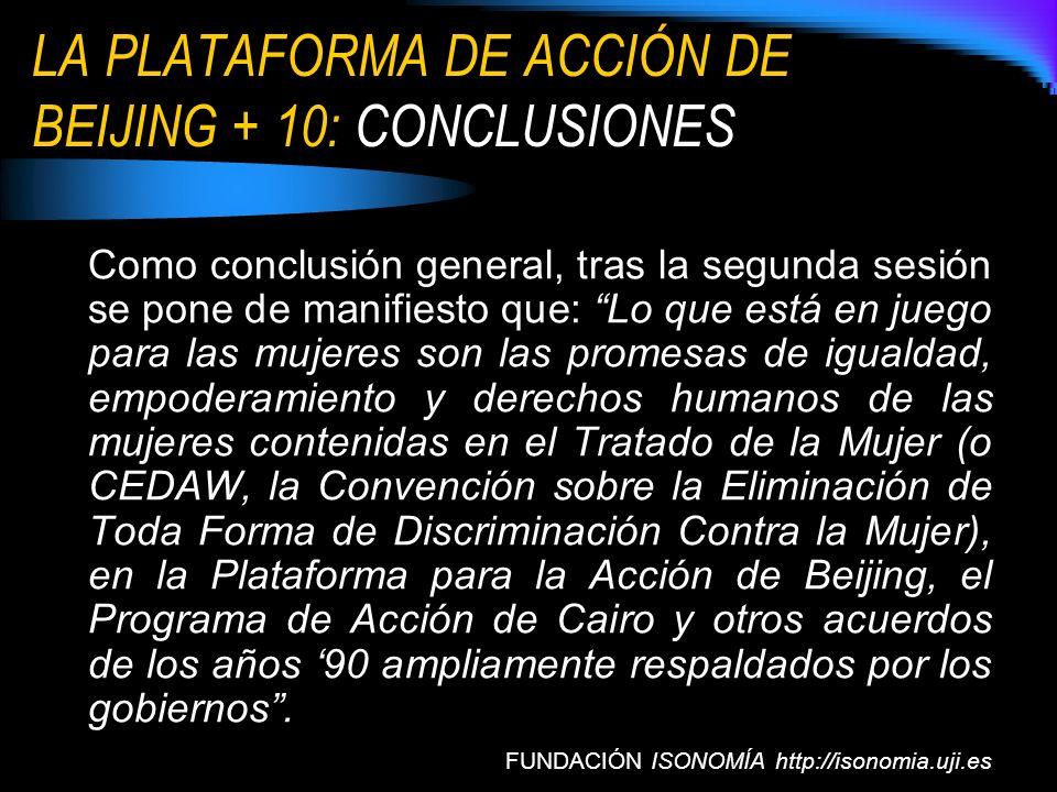 LA PLATAFORMA DE ACCIÓN DE BEIJING + 10: CONCLUSIONES