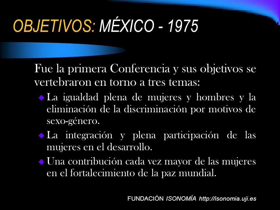 OBJETIVOS: MÉXICO - 1975 Fue la primera Conferencia y sus objetivos se vertebraron en torno a tres temas: