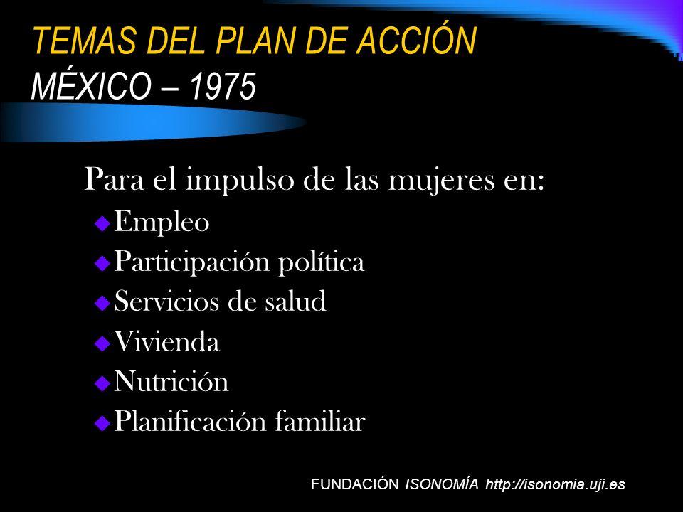 TEMAS DEL PLAN DE ACCIÓN MÉXICO – 1975