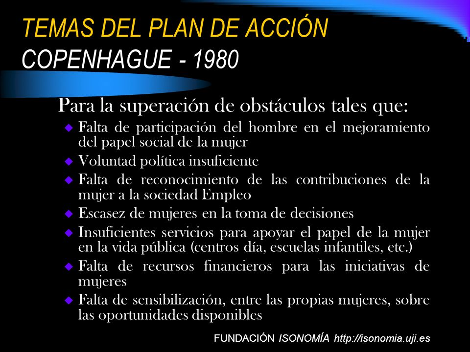 TEMAS DEL PLAN DE ACCIÓN COPENHAGUE - 1980