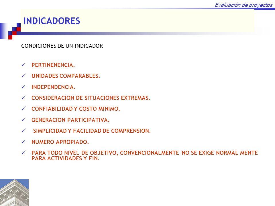 INDICADORES CONDICIONES DE UN INDICADOR PERTINENENCIA.