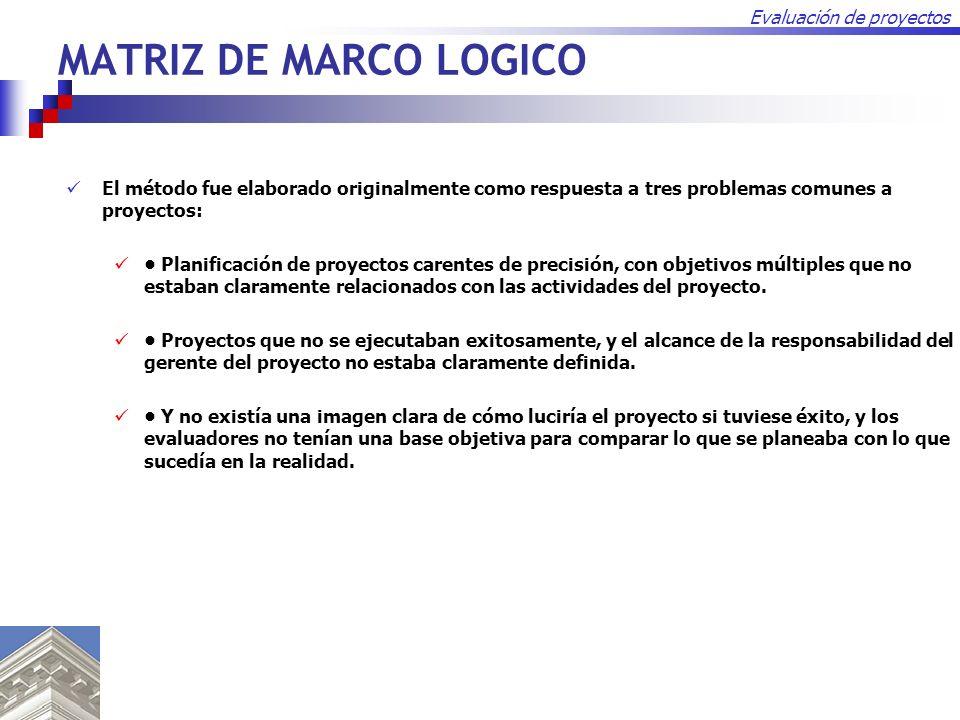 MATRIZ DE MARCO LOGICO El método fue elaborado originalmente como respuesta a tres problemas comunes a proyectos: