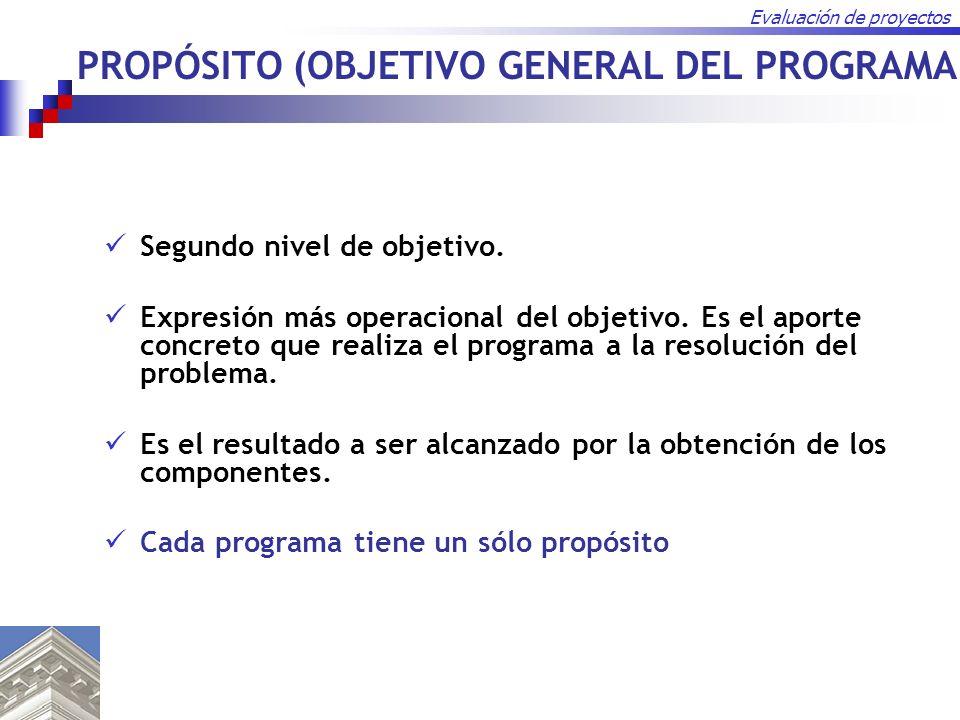 PROPÓSITO (OBJETIVO GENERAL DEL PROGRAMA)