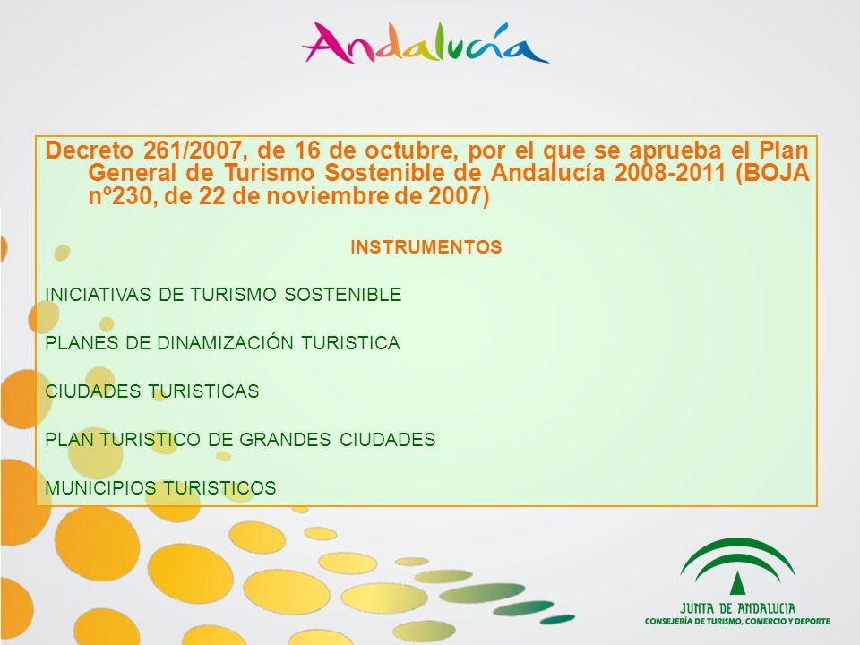 Decreto 261/2007, de 16 de octubre, por el que se aprueba el Plan General de Turismo Sostenible de Andalucía 2008-2011 (BOJA nº230, de 22 de noviembre de 2007)