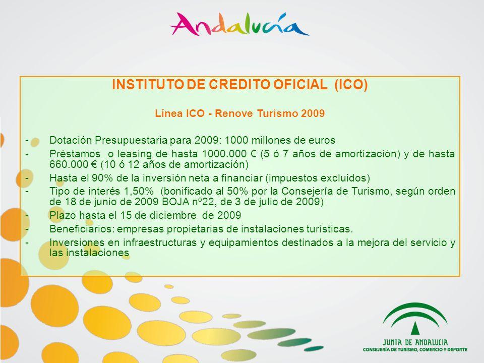 INSTITUTO DE CREDITO OFICIAL (ICO) Línea ICO - Renove Turismo 2009