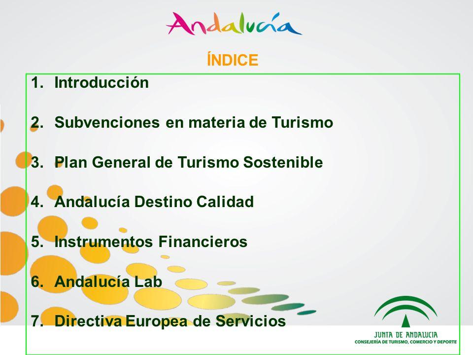 ÍNDICE Introducción. Subvenciones en materia de Turismo. Plan General de Turismo Sostenible. Andalucía Destino Calidad.