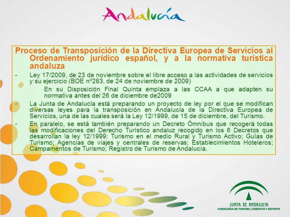Proceso de Transposición de la Directiva Europea de Servicios al Ordenamiento jurídico español, y a la normativa turística andaluza