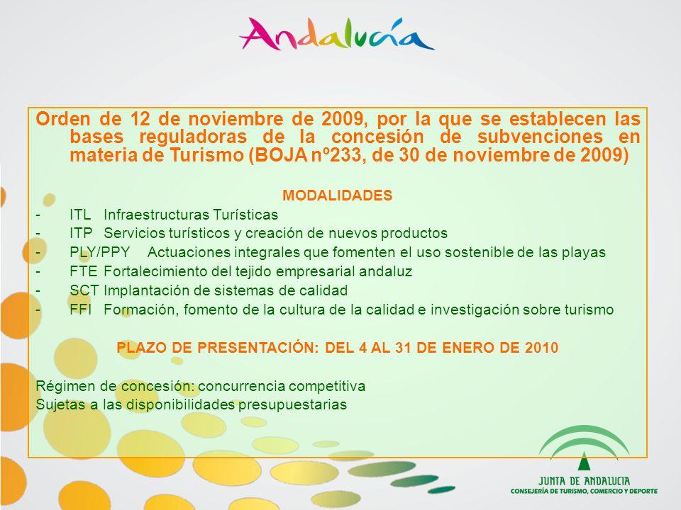 PLAZO DE PRESENTACIÓN: DEL 4 AL 31 DE ENERO DE 2010