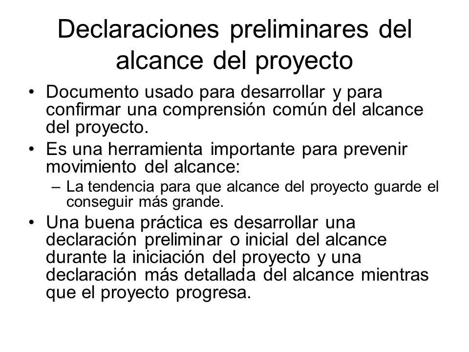 Declaraciones preliminares del alcance del proyecto