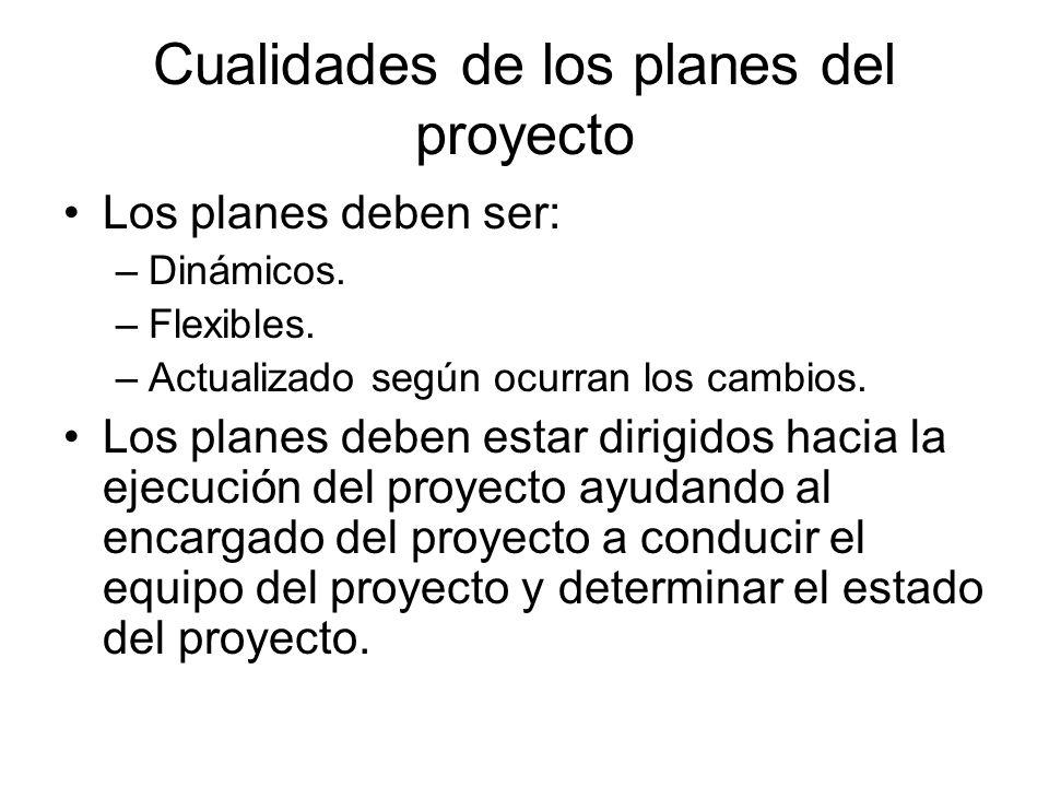 Cualidades de los planes del proyecto