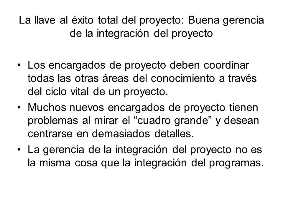 La llave al éxito total del proyecto: Buena gerencia de la integración del proyecto