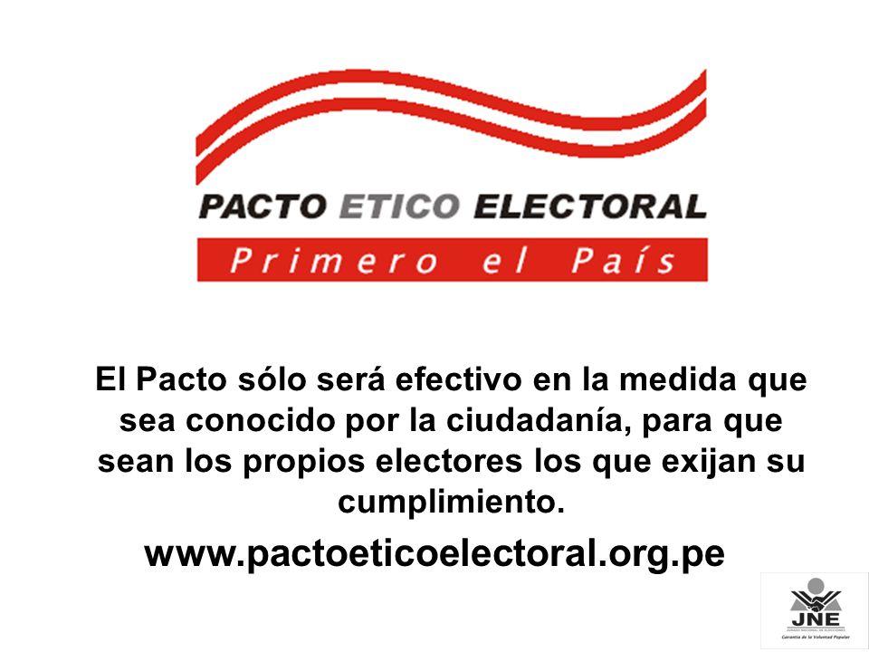 El Pacto sólo será efectivo en la medida que sea conocido por la ciudadanía, para que sean los propios electores los que exijan su cumplimiento.