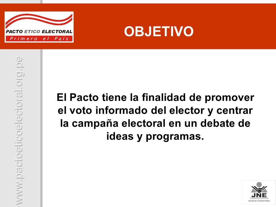 OBJETIVO El Pacto tiene la finalidad de promover el voto informado del elector y centrar la campaña electoral en un debate de ideas y programas.
