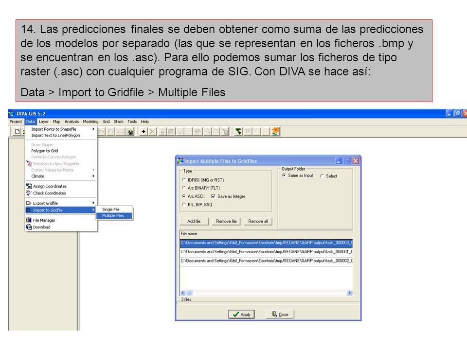 14. Las predicciones finales se deben obtener como suma de las predicciones de los modelos por separado (las que se representan en los ficheros .bmp y se encuentran en los .asc). Para ello podemos sumar los ficheros de tipo raster (.asc) con cualquier programa de SIG. Con DIVA se hace así: