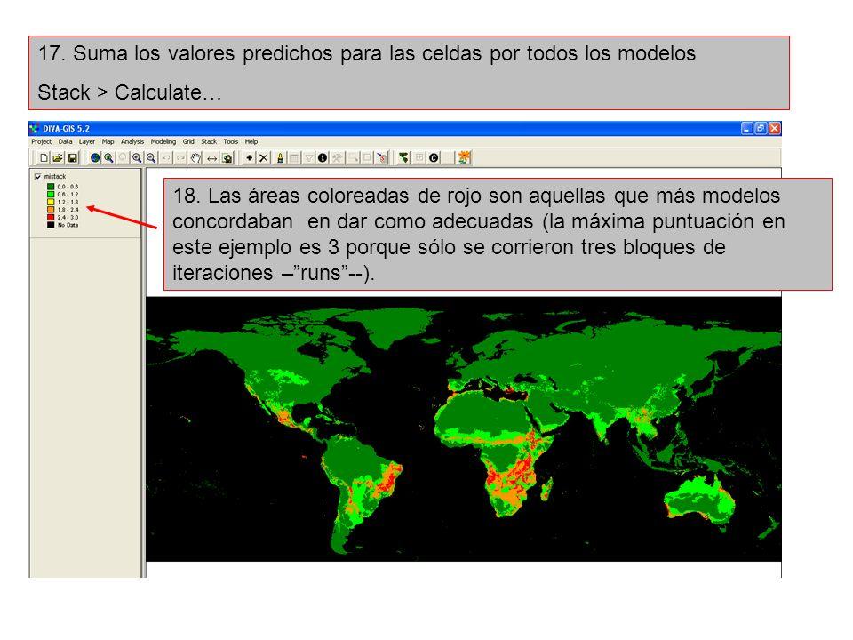 17. Suma los valores predichos para las celdas por todos los modelos