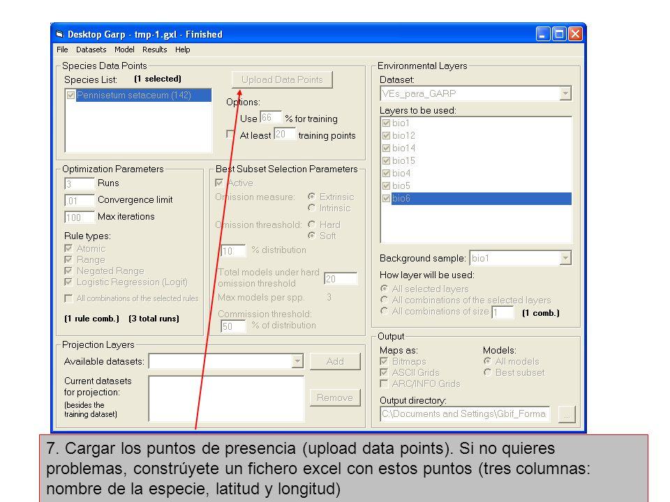 7. Cargar los puntos de presencia (upload data points)